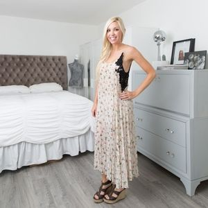 Zara // Floral and Crochet Maxi Dress